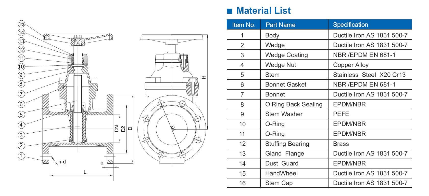 AS2638 resilient gate valve