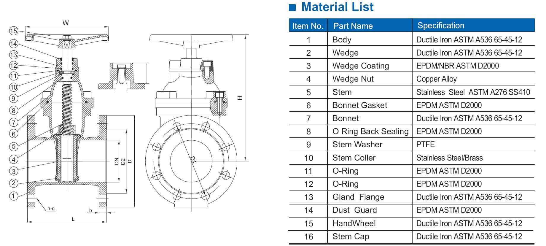 AWWA C509 reslient seat gate valve