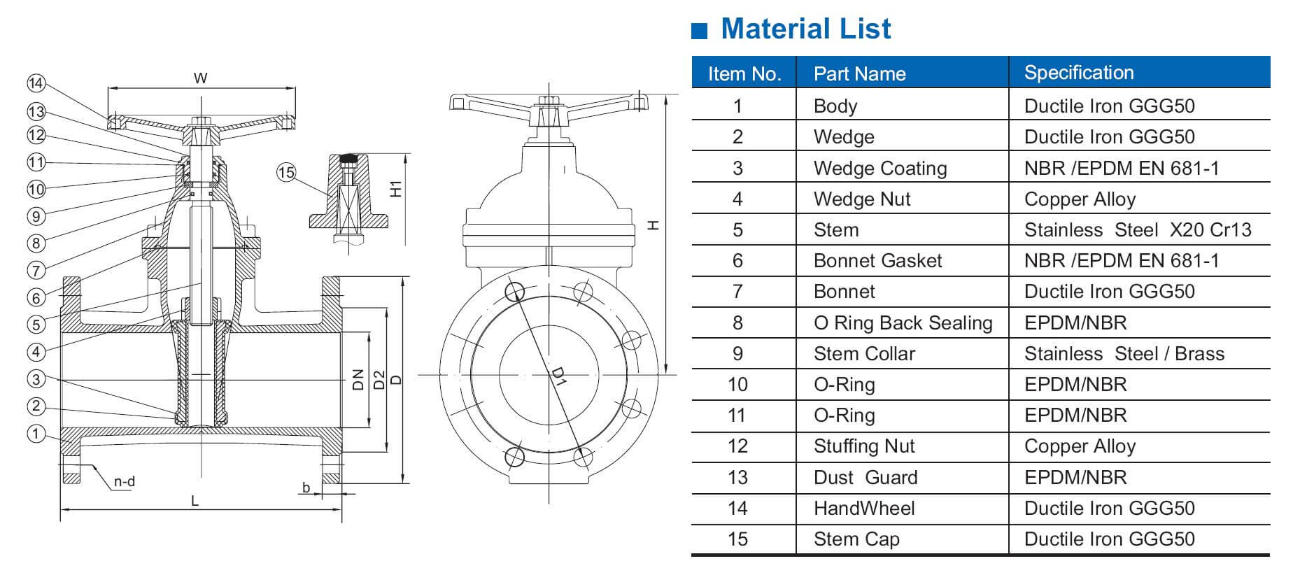 DIN3352 F5 resilient seat gate valve
