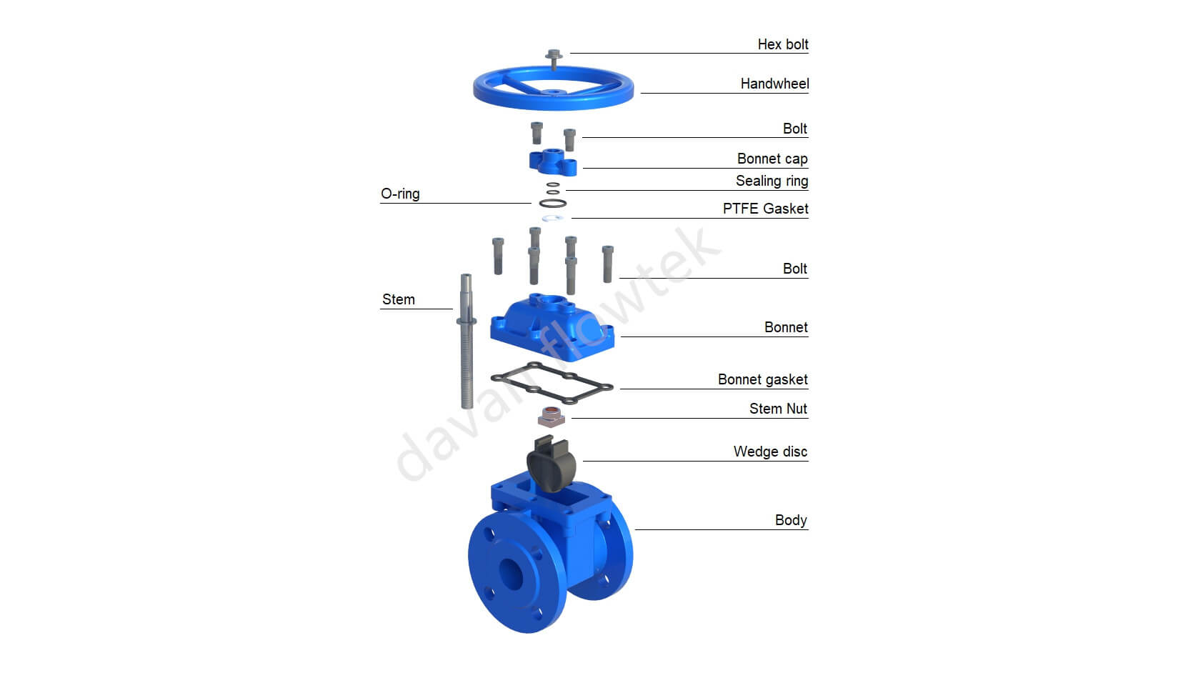 resilient seat gate valve with bonnet cap