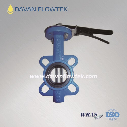 Pin type butterfly valve wafer type with hand lever