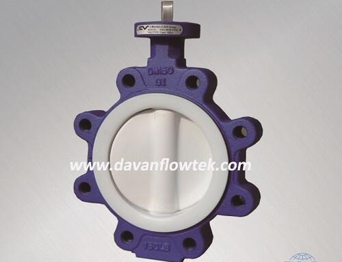 full coated ptfe lug type butterfly valve