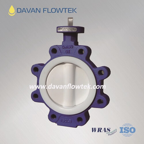 full coated ptfe lug type butterfly valve