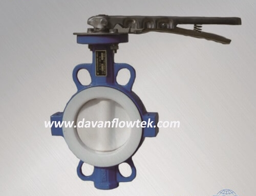 full coated ptfe wafer type butterfly valve