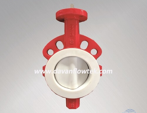 Full ptfe coated butterfly valve semi wafer type