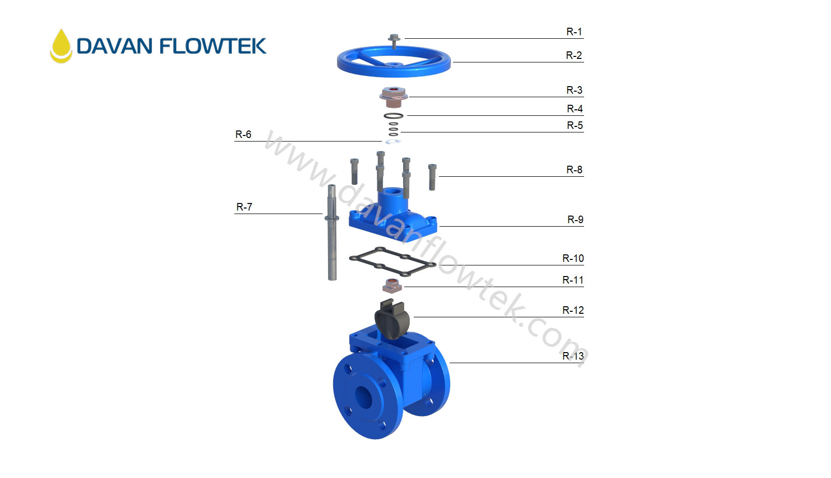 rubber gate valve drawing