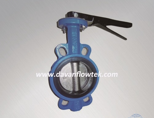 Wafer type butterfly valve without pin