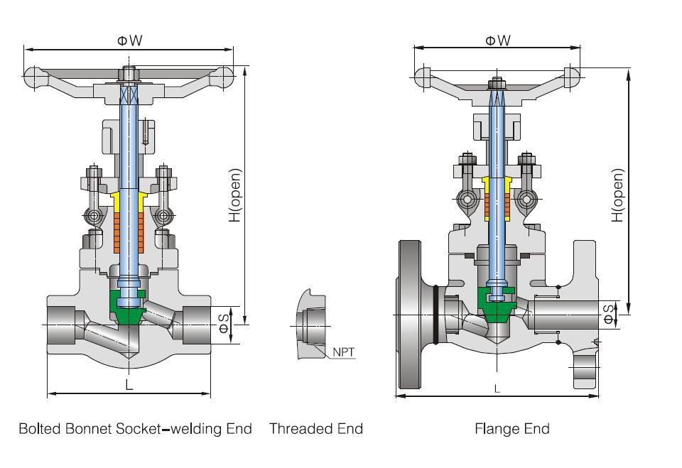 api forged globe valve size