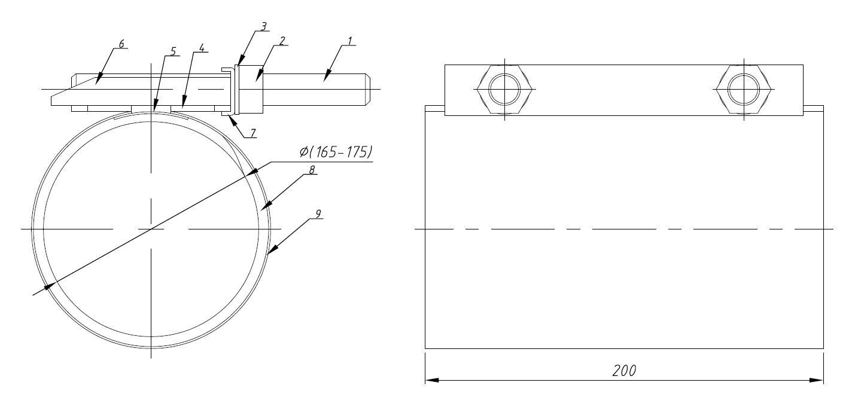 single bend repair clamp size
