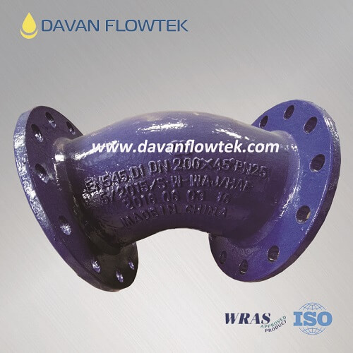 45 degree flange bend ductile iron iso2531