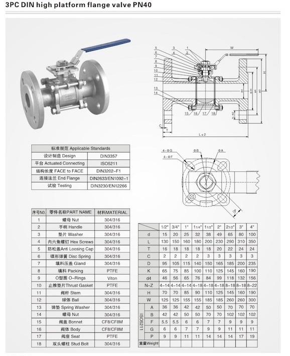 3pc ball valve drawing