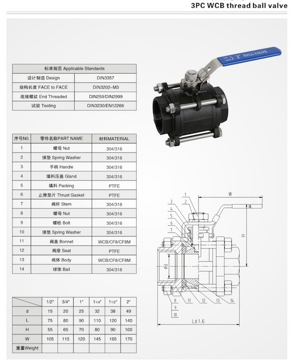 3pc wcb ball valve drawing