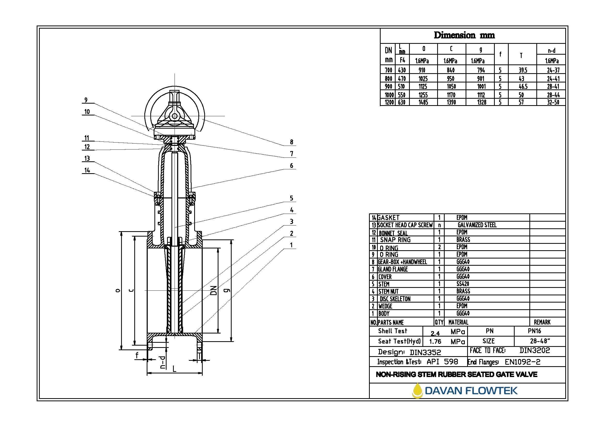gate valve DN1200 PN16