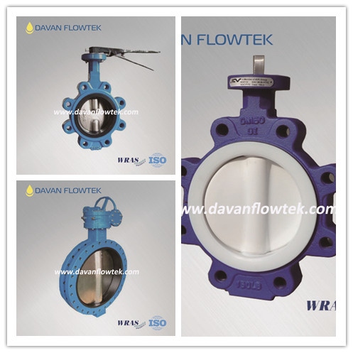 lug type butterfly valve with hand lever and PTFE